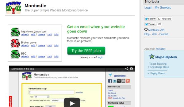 Montastic free uptime monitoring tool