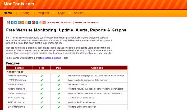 montools free uptime monitoring tool