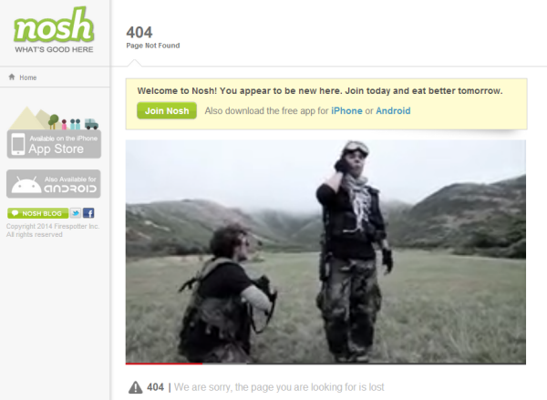 Nosh 404 page
