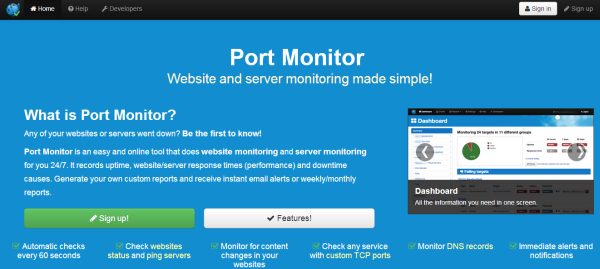 Port-monitor uptime monitoring tool