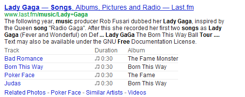 Songs rich snippets