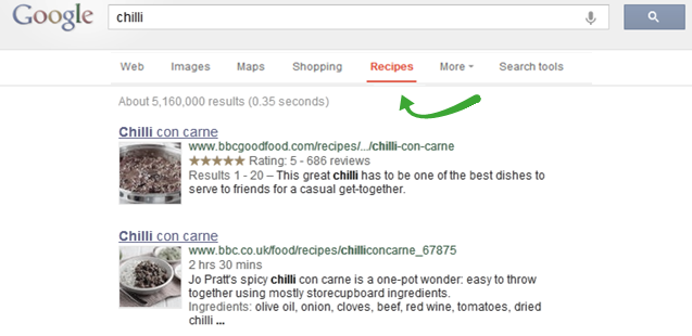 Google Recipe Section