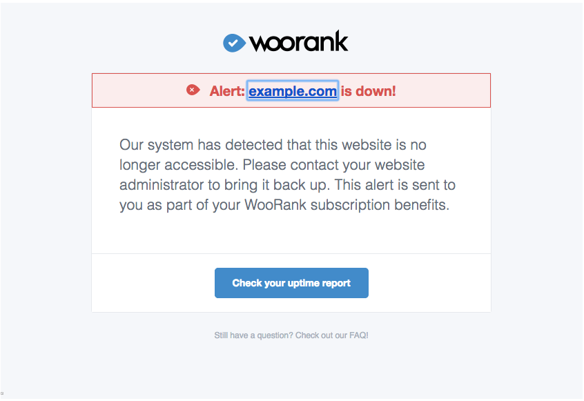 WooRank downtime notification email