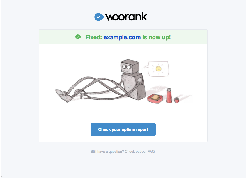 WooRank uptime notification email