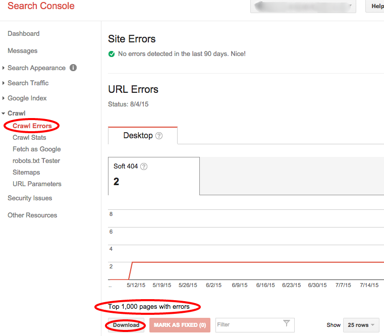 Search Console Crawl Errors