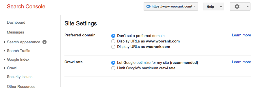 Setting a preferred domain: Google Search Console