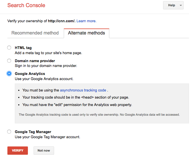 Verifying Google Search Console account via Google Analytics