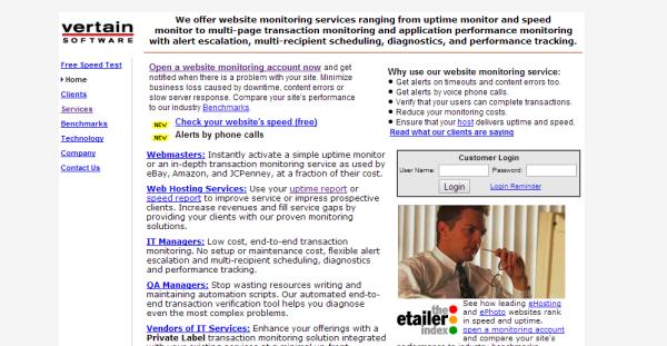 Vertain free uptime monitoring service