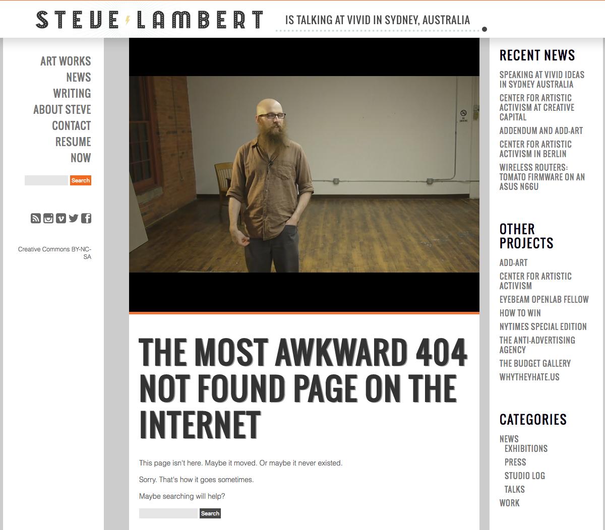 VisitSteve 404 page