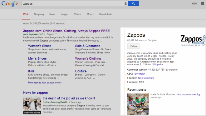 Knowledge graph with Zappos