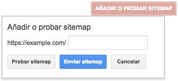 Añadir o probar sitemap