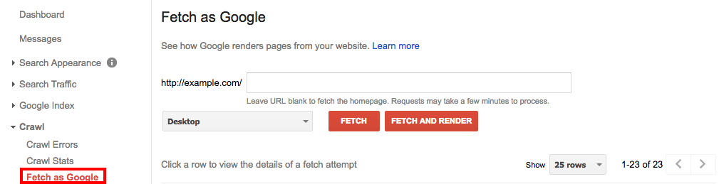 Fetch as Google - Google Search Console