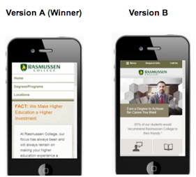 A/B test mobile landing pages