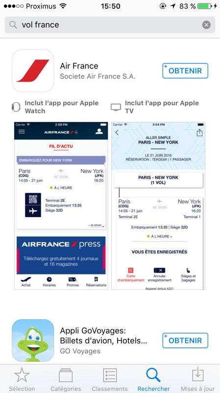 screenshot app Air France