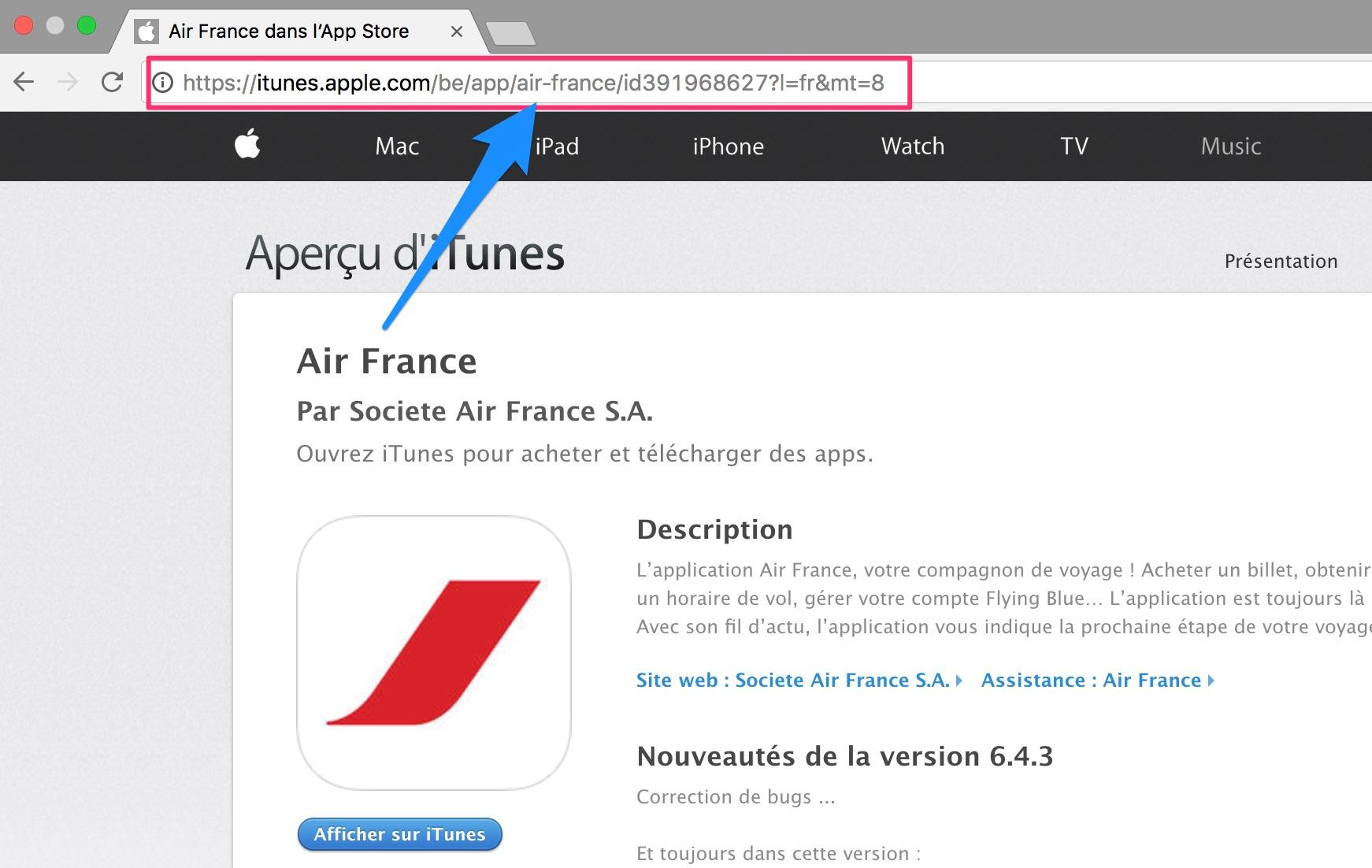 url app Air France