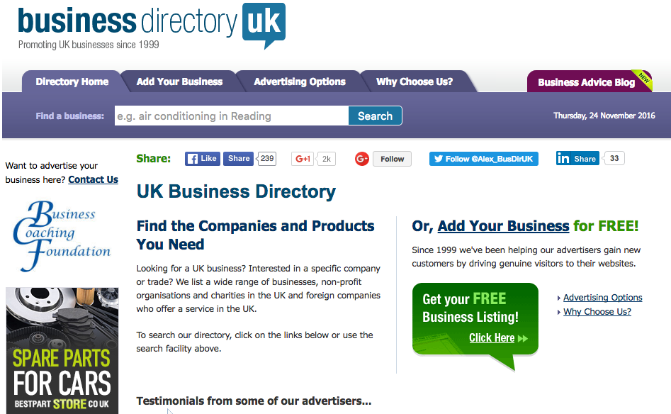 Business Directory UK website