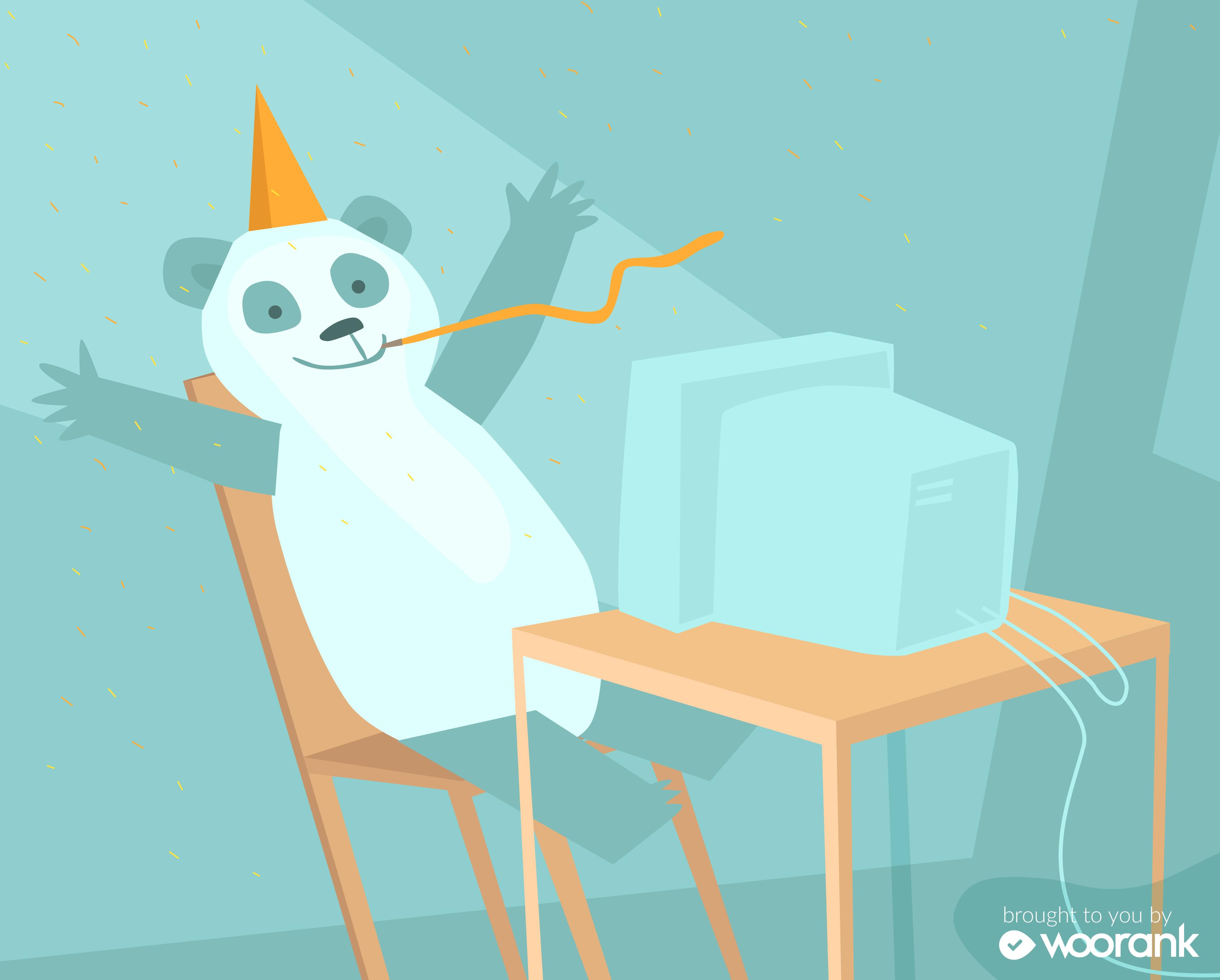 Celebrating panda in orange party hat sitting at computer