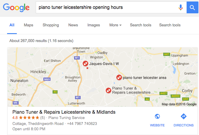 Google Results for local Piano Tuner