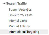 International Targeting on Google Search Console
