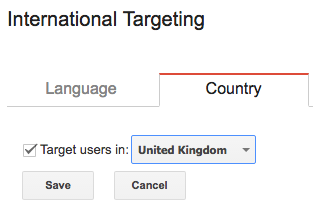 User Targeting Option on Google Search Console