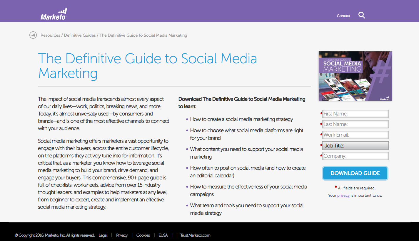 Marketo mobile responsive landing page on desktop