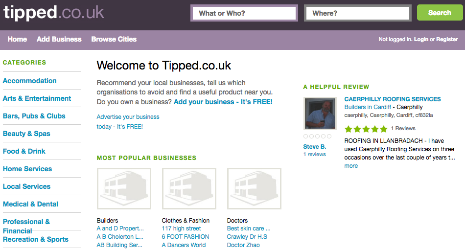 Tipped.co.uk for Free UK Business Listings and Local Reviews