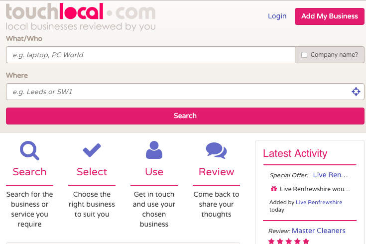 Touch Local UK Business listing and local review site