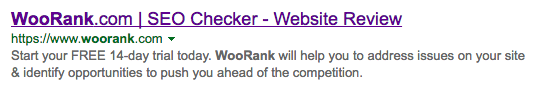 WooRank search snippet Bing