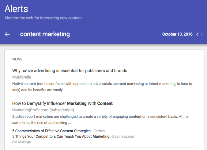 Content marketing Google Alert screenshot