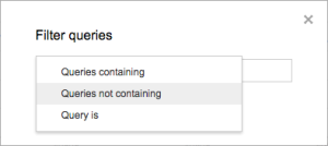Google Search Analytics Filter by search queries