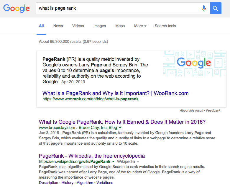 What is page rank? Featured snippet