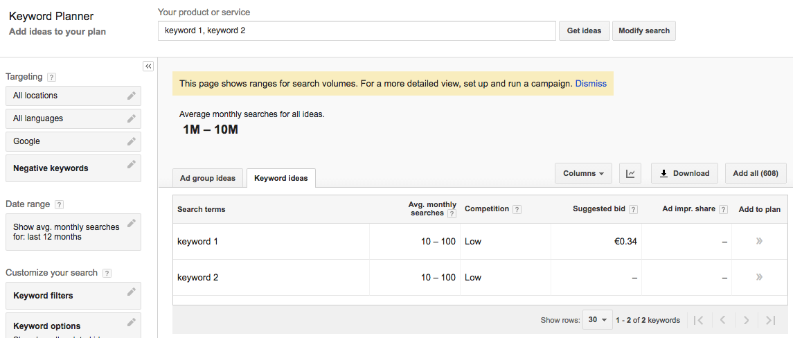 AdWords Keyword Planner throttled data