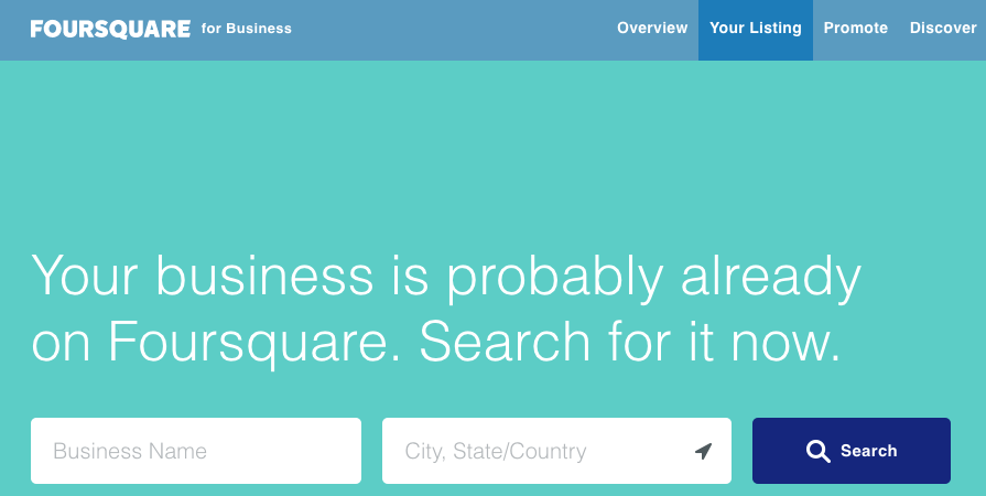 Free listing on FourSquare