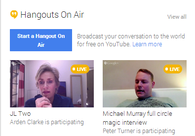 Example of Hangouts on Air