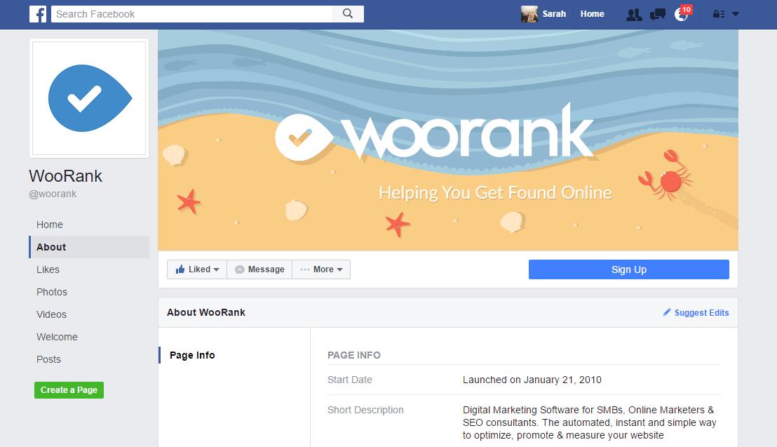 WooRank's Facebook Page