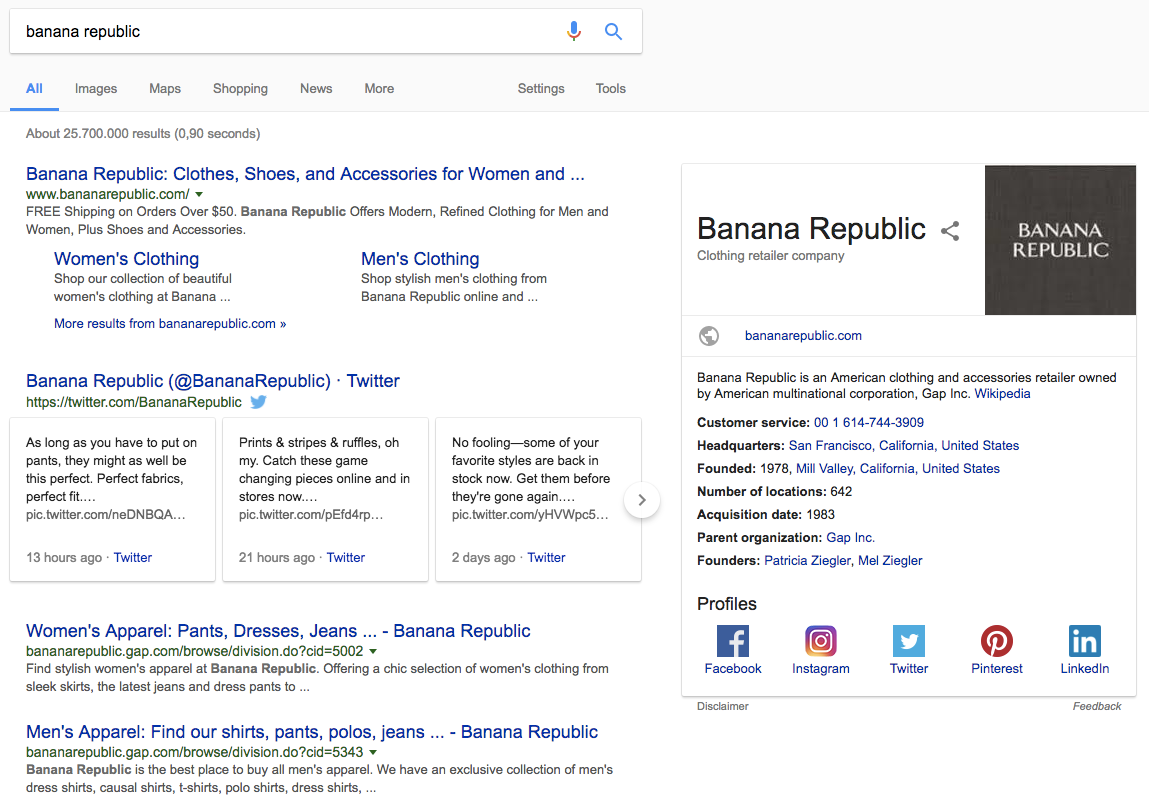 Banana Republic branded Knowledge Panel and SERP