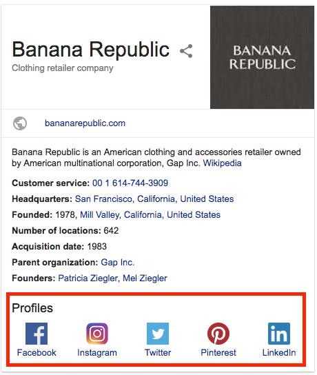 Banana Republic branded Knowledge Panel social media profiles