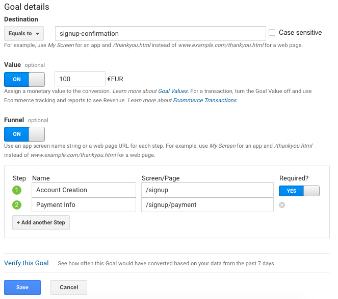 Google Analytics goal creation