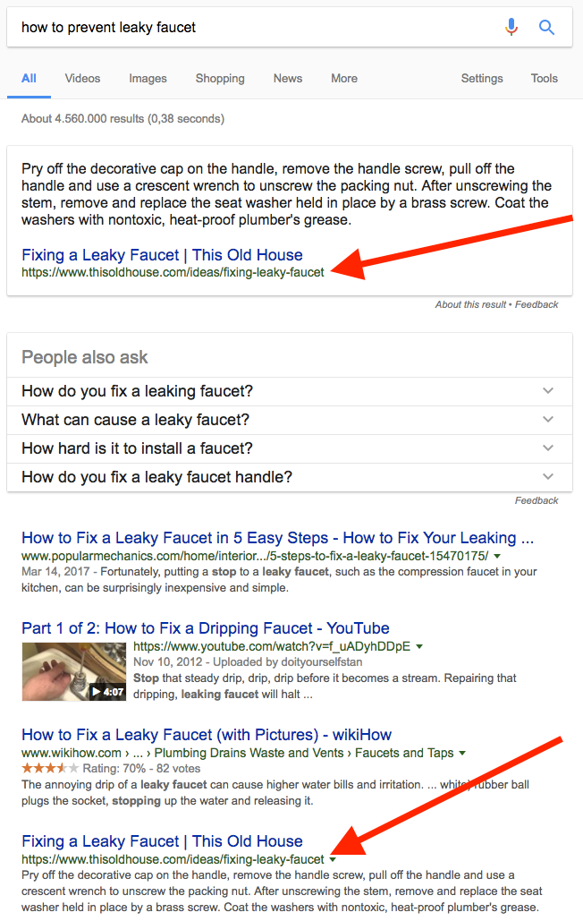 how to prevent leaky faucet SERP