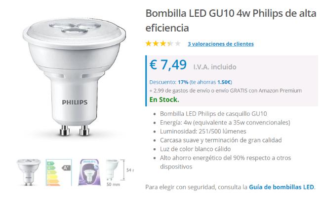 Descripción de las características de una bombilla LED en un sitio de eCommerce