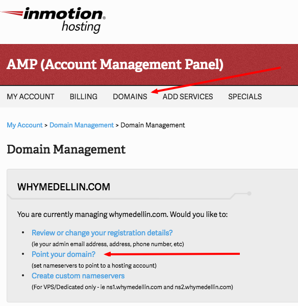 inmotion hosting change name server