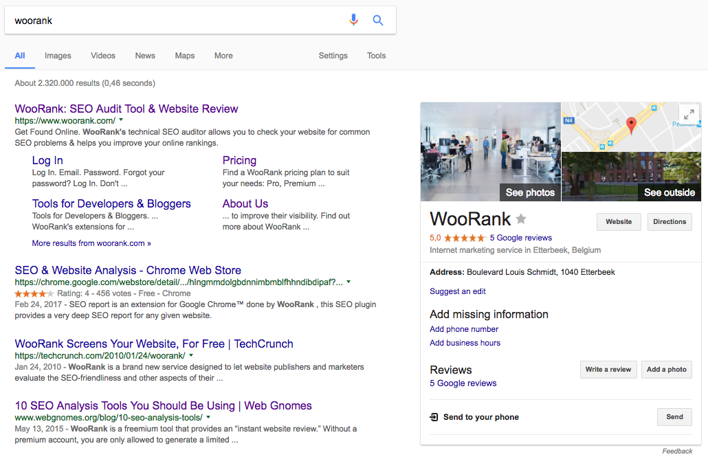 WooRank Google Knowledge Graph entry