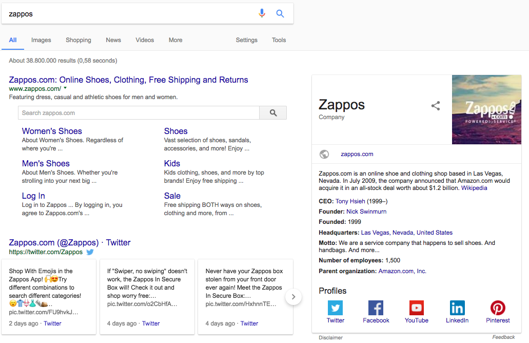 Zappos Knowledge Graph panel in SERP