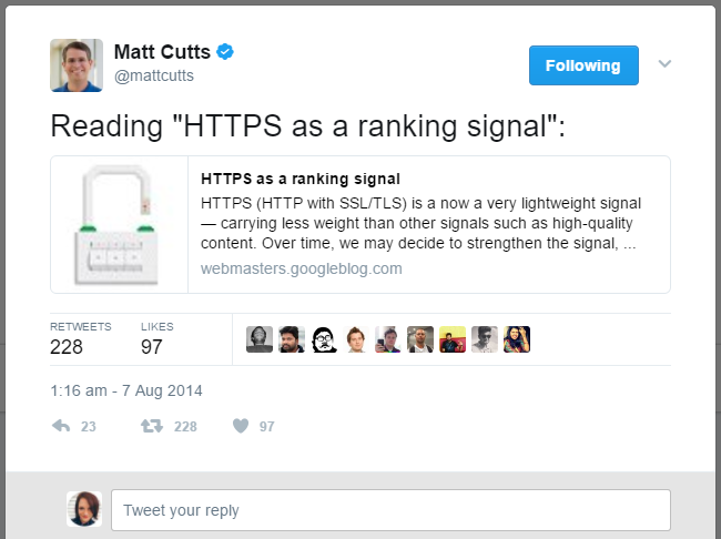 HTTPS as a Ranking Signal Tweet from Matt Cutts