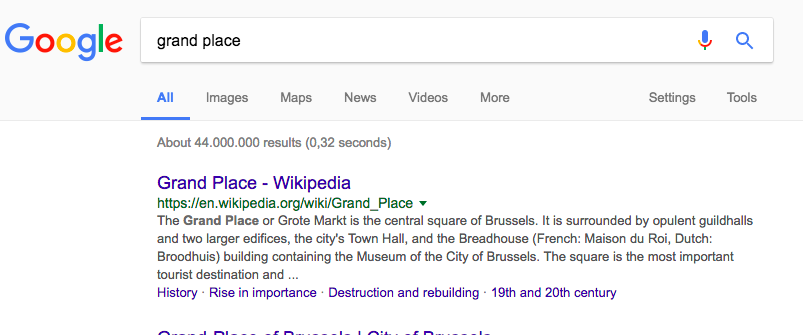 Brussels Grand Place Wikipedia snippet