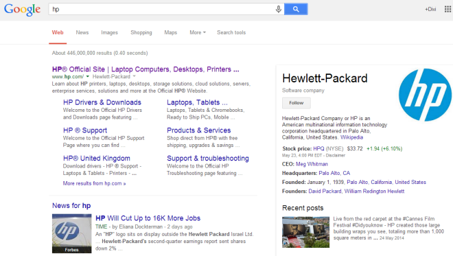 Hewlett Packard knowledge panel