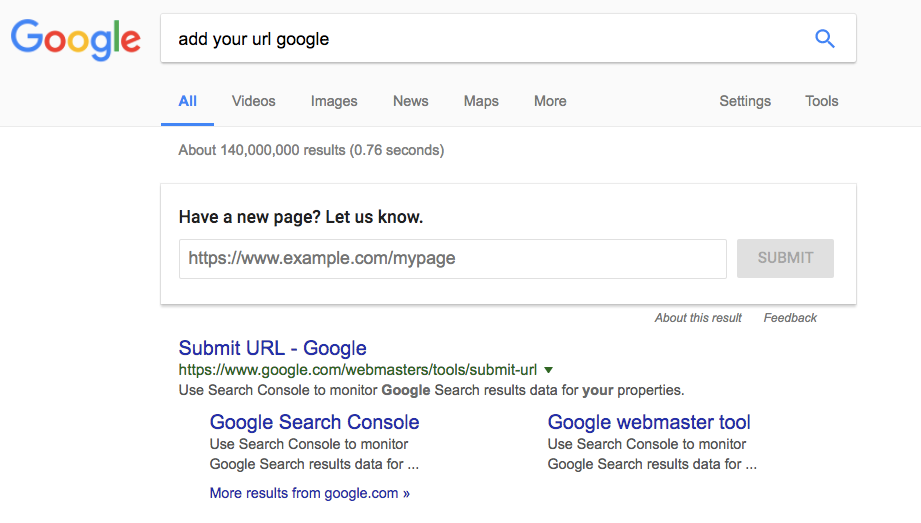 Sumbit your URL via Google SERP