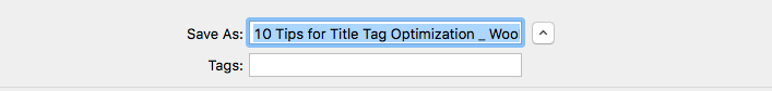 The title tag as the filename when saving a web page