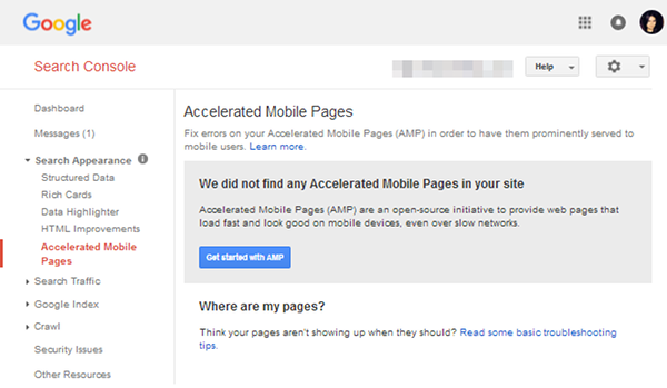 AMP structured data in Google Search Console