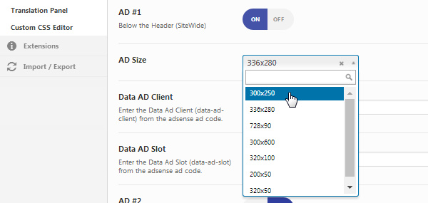 AMP for WP ad size